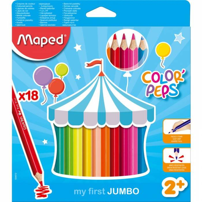 Ξυλομπογιές Maped Color Peps My first jumbo 18 τεμ