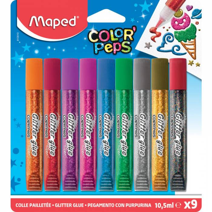 Glitter κόλλα Maped Color Peps 9 τεμ